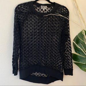 Pam & Gela Crochet Long Sleeve Top